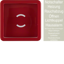 1295 Centre plate with glass plate Rocker,  Splash-protected flush-mounted IP44, red glossy