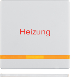 "16216069 Rocker with imprint ""Heizung "" orange lens,  Berker Q.1/Q.3, polar white velvety"