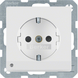 41096089 SCHUKO socket outlet with LED orientation light enhanced contact protection,  Screw-in lift terminals,  Berker Q.1/Q.3, polar white velvety