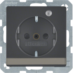 41106086 SCHUKO socket outlet with control LED with labelling field,  enhanced contact protection,  Screw-in lift terminals,  Berker Q.1/Q.3, anthracite velvety,  lacquered