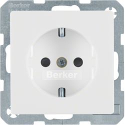 41236089 SCHUKO socket outlet with enhanced touch protection,  Screw-in lift terminals,  Berker Q.1/Q.3, polar white velvety