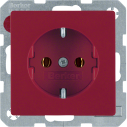 41436012 SCHUKO socket outlet with screw-in lift terminals,  Berker Q.1/Q.3, red velvety