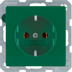 41436013 SCHUKO socket outlet with screw-in lift terminals,  Berker Q.1/Q.3, green velvety