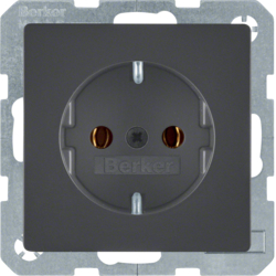 41436086 SCHUKO socket outlet with screw-in lift terminals,  Berker Q.1/Q.3, anthracite velvety,  lacquered
