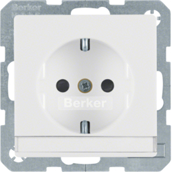 41496089 SCHUKO socket outlet with labelling field,  enhanced contact protection,  Screw-in lift terminals,  Berker Q.1/Q.3, polar white velvety