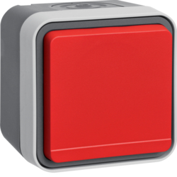 47403521 SCHUKO socket outlet with red hinged cover surface-mounted Berker W.1, grey/light grey matt