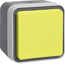 47403524 SCHUKO socket outlet with yellow hinged cover surface-mounted Berker W.1, grey/light grey matt
