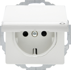 47466089 SCHUKO socket outlet with hinged cover Labelling field,  enhanced contact protection,  Mounting orientation variable in 45° steps,  Berker Q.1/Q.3, polar white velvety
