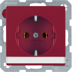 47506002 SCHUKO socket outlet with labelling field,  Berker Q.1/Q.3, red velvety