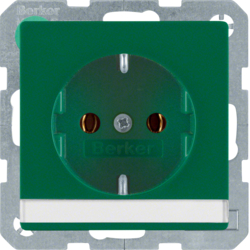 47506003 SCHUKO socket outlet with labelling field,  Berker Q.1/Q.3, green velvety