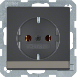47506086 SCHUKO socket outlet with labelling field,  Berker Q.1/Q.3, anthracite velvety,  lacquered