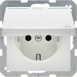 "47516039 SCHUKO socket outlet with hinged cover and ""SV"" imprint in green Berker Q.1/Q.3, polar white velvety"