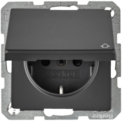 47516086 SCHUKO socket outlet with hinged cover enhanced contact protection,  Berker Q.1/Q.3, anthracite velvety,  lacquered