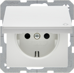 47516089 SCHUKO socket outlet with hinged cover enhanced contact protection,  Berker Q.1/Q.3, polar white velvety