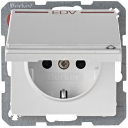 "47526059 SCHUKO socket outlet with hinged cover and ""EDV"" imprint in red Labelling field,  enhanced contact protection,  Berker Q.1/Q.3, polar white velvety"