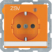 "41106014 SCHUKO socket outlet with control LED and ""ZSV"" imprint with labelling field,  enhanced contact protection,  Screw-in lift terminals,  Berker Q.1/Q.3, orange velvety"