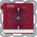 "41106015 SCHUKO socket outlet with control LED and ""EDV"" imprint with labelling field,  enhanced contact protection,  Screw-in lift terminals,  Berker Q.1/Q.3, red velvety"
