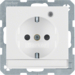 41106089 SCHUKO socket outlet with control LED with labelling field,  enhanced contact protection,  Screw-in lift terminals,  Berker Q.1/Q.3, polar white velvety