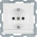 47496089 SCHUKO socket outlet with labelling field,  enhanced contact protection,  Berker Q.1/Q.3, polar white velvety