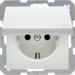 47516079 SCHUKO socket outlet with hinged cover enhanced contact protection,  Berker Q.1/Q.3, polar white velvety