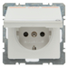 "47526049 SCHUKO socket outlet with hinged cover and ""ZSV"" imprint in orange Labelling field,  enhanced contact protection,  Berker Q.1/Q.3, polar white velvety"
