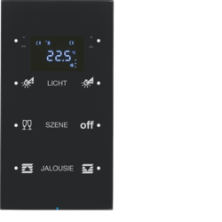 75643155 Sensore touch triplo con regolatore di temperatura Display,  accoppiatore bus integrato,  Vetro nero